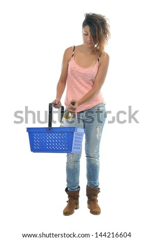 young woman in super market