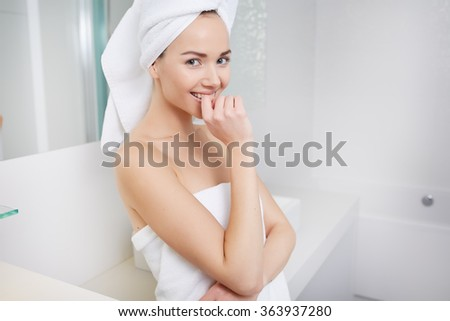 Young Woman in the Bathroom. Woman Bathroom Stock Images  Royalty Free Images   Vectors