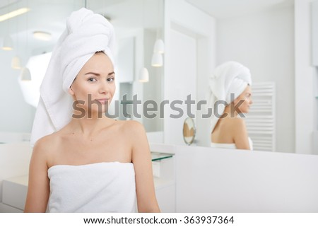 Young Woman in the Bathroom. Woman In Bathroom Stock Images  Royalty Free Images   Vectors