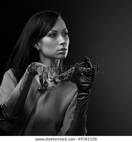 Young woman in the gloves