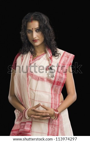 Young woman in traditional Bengali dress
