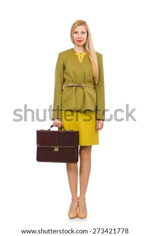 Young woman in vivid jacket and with briefcase isolated on white - stock photo