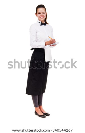 Young woman in waiter uniform holding notepad over white background isolated.