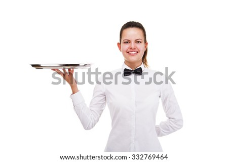 Young woman in waiter uniform holding tray isolated over white background. - stock photo