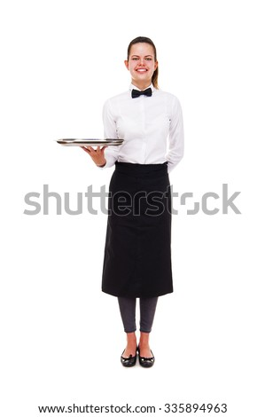 Young woman in waiter uniform holding tray isolated over white background.