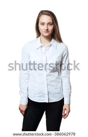 young woman in white formal shirt looking seriously - stock photo