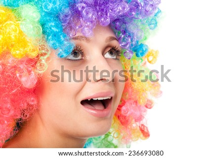 Young woman in wig White background - stock photo
