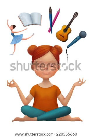 Young woman in yoga pose thinking about arts activities: ballet, reading, painting, music practice and singing. Choice concept. Cartoon character illustration isolated in white. - stock photo