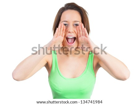 Young woman is calling for joy - stock photo