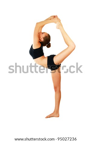 Young woman is doing an expert yoga exercise. - stock photo