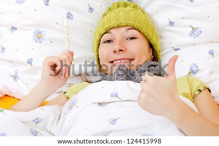 Young woman is feeling well from the medical treatment - stock photo