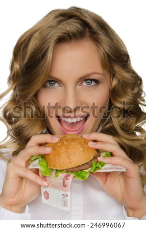 Young woman is going to bite the Burger from RUR isolated on white