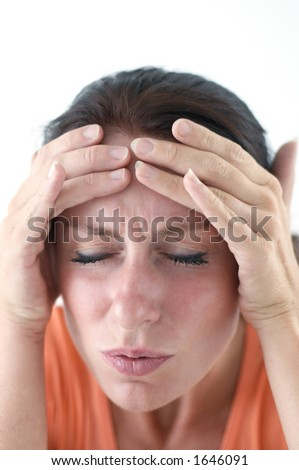 Young woman is having a bad headache - stock photo
