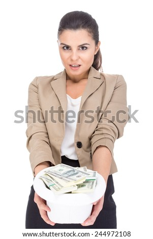 Young woman is holding a hat full of money, isolated on white background. - stock photo