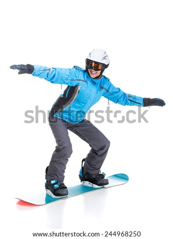 Young woman is posing with snowboard and goggles in studio, isolated on white background.
