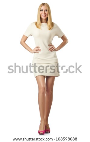 Young woman isolated on the white - stock photo