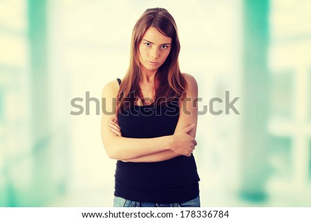 Young woman isolated on white background  - stock photo