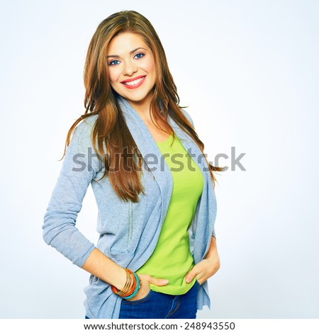 Young woman isolated on white background. Smiling female model. Girl with long hair. - stock photo