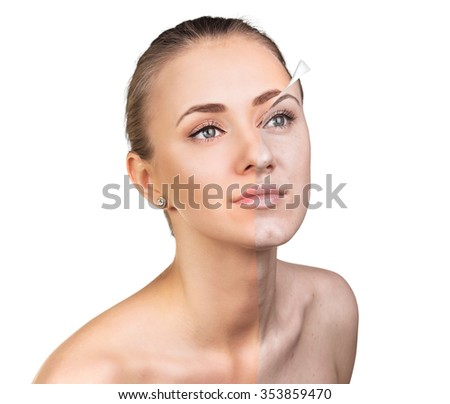 Young woman, isolated on white, before and after retouch, beauty treatment, skin care concept.