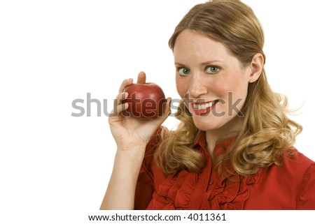 Young woman isolated on white holding an apple