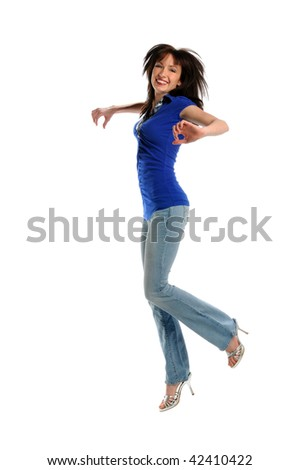 Young woman jumping isolated over white background - stock photo