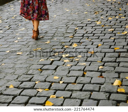 Young woman legs on Parisian cobblestone street covered with yellow autumn leaves. - stock photo