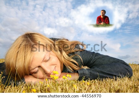 young woman lies on the grass and boy in dream cloud collage - stock photo