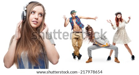 young woman listening music and group of dancers on background isolated on white - stock photo