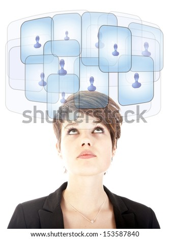 Young woman looking at her virtual friends isolated on white - stock photo