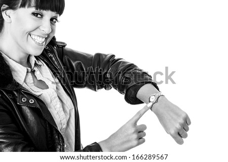 Young Woman Looking at Wrist Watch
