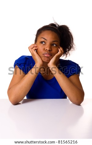 young woman looking bored. - stock photo