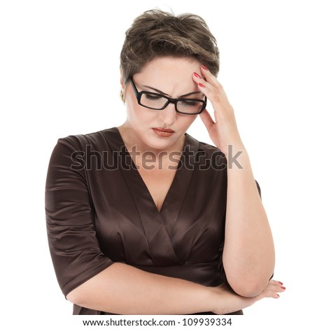 Young woman looking depressed isolated on white background - stock photo