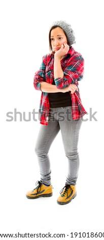 Young woman looking sad - stock photo