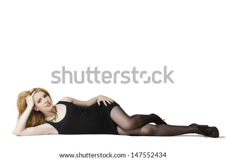 Young woman lying on side.