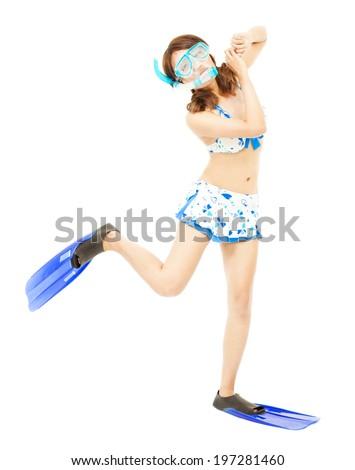 young woman make a cute dancing pose - stock photo