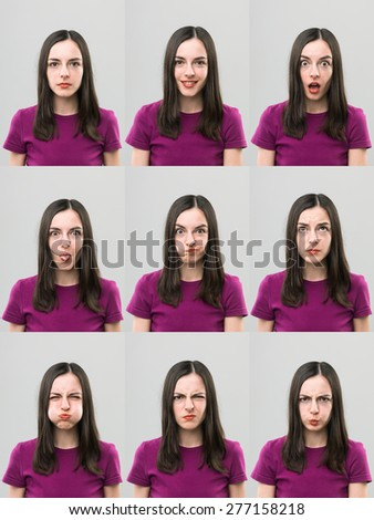 young woman making different faces. digital composite image - stock photo