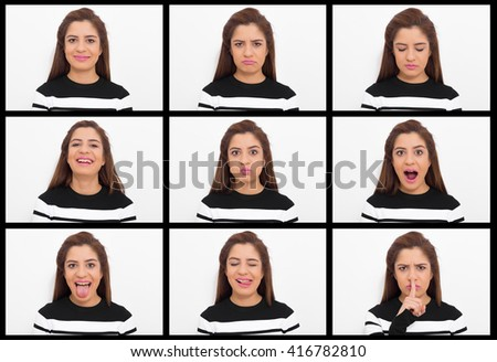 Young woman making nine different facial expressions - stock photo