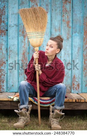 Young woman making selfie after working. Fun, work and leisure concept - stock photo