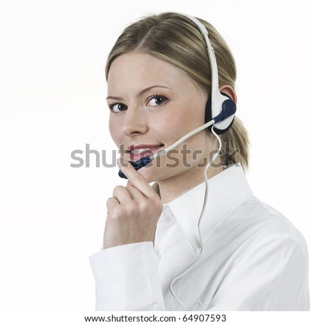 Young woman making telephonist white shirt - stock photo