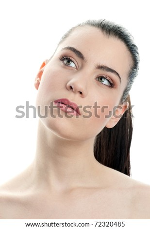 young woman making thinking expression - stock photo