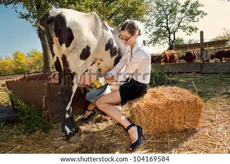 Young woman milking cow on farm - stock photo