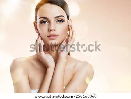 Young woman model, youth and skin care concept / photoset of attractive brunette girl on beige background  - stock photo