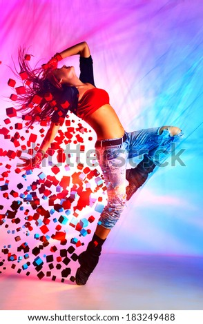 Young woman modern dance with special effects. - stock photo