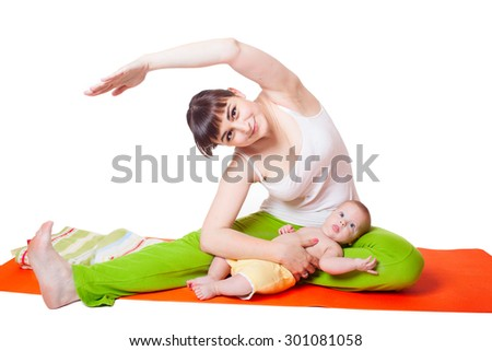 Young woman mother practicing yoga with baby, studio portrait isolated on white background