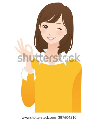 "young woman of the yellow color cloths ""okay"""