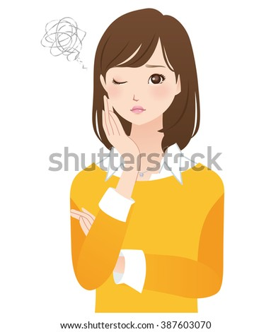 "young woman of the yellow color cloths ""trouble"""