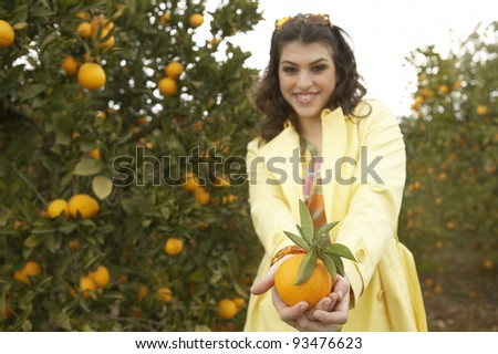 Young woman offering a fresh orange to the camera while standing in an orange grove. - stock photo