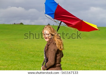 Young woman on a windy day