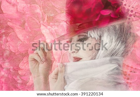 young woman on flowers background - stock photo