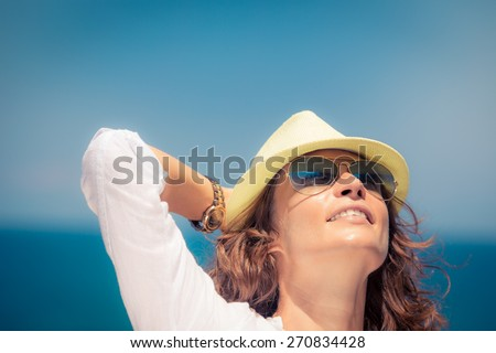 Young woman on summer vacation. Travel and adventure concept